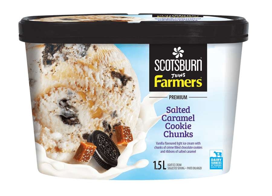 Salted Caramel Cookie Chunks Scotsburn joins Farmers Ice Cream