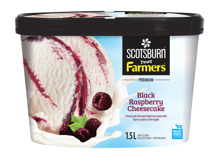 Black Rasberry Cheesecake Scotsburn joins Farmers Ice Cream